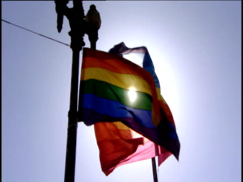 vidéos et rushes de two rainbow flags on lamp posts move in breeze usa - drapeau