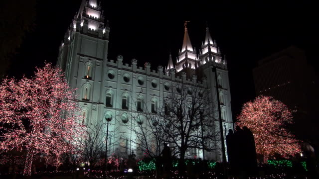 Two Red Lights Trees Guarding the Mormon Temple
