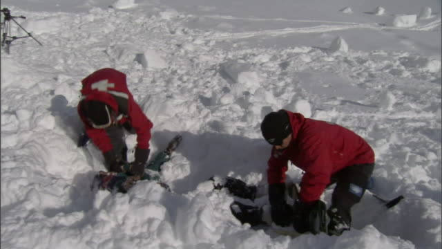 vidéos et rushes de two rescue workers uncover a victim buried in snow after an avalanche. - sauvetage