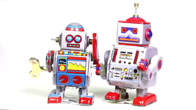 two retro tin toy robots - robot stock videos & royalty-free footage