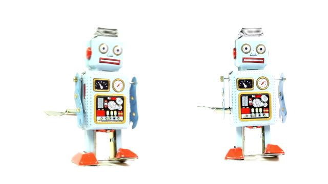 two retro tin toy robots - toy stock videos & royalty-free footage