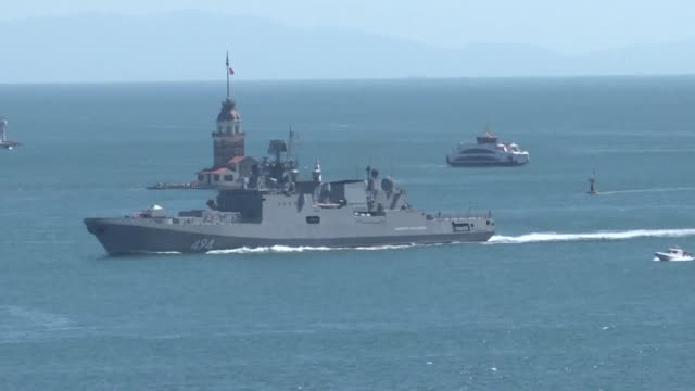 two russian navy ships are seen on the bosphorus in istanbul heading from the mediterranean towards the black sea - navy stock videos & royalty-free footage