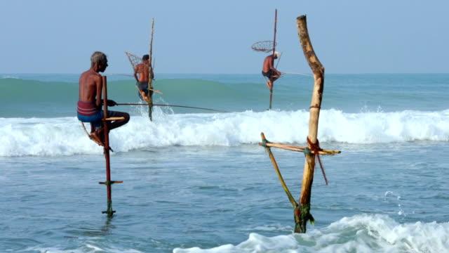 two scenes: stilt fishermen of sri lanka - film montage stock videos & royalty-free footage
