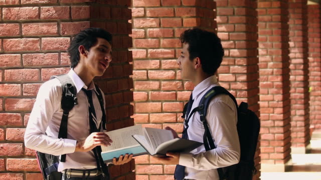 Two school students talking, Noida, Uttar Pradesh, India
