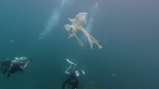 two scuba divers surrounded by plastic waste pollution - pulizia dell'ambiente video stock e b–roll