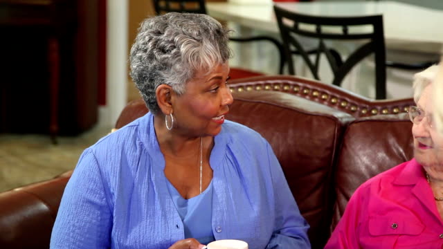 two senior adult women friends visiting at home. - visit stock videos & royalty-free footage