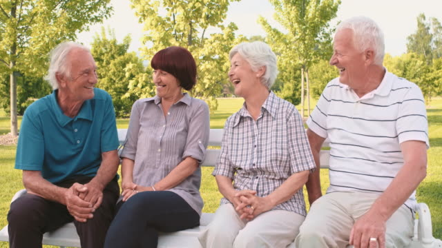 Two senior couples chatting and laughing in the park