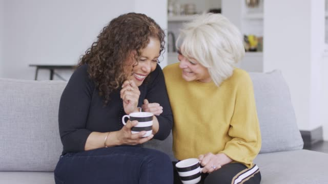 two senior females laughing and spending time together - fatcamera stock videos & royalty-free footage