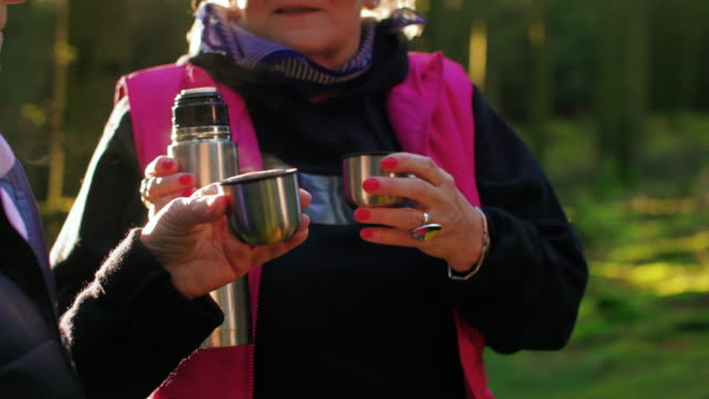 stockvideo's en b-roll-footage met twee hogere dames in het bos - schimmel