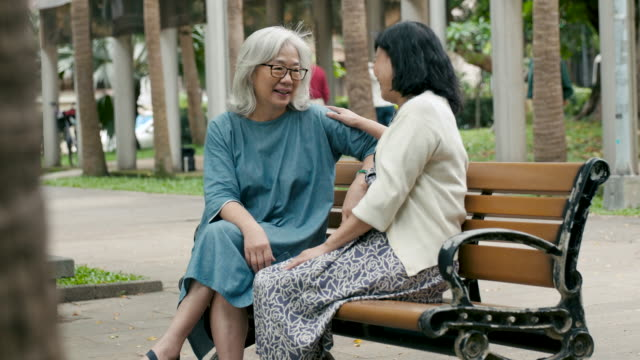 two senior ladies sitting on a bench - taipei stock videos & royalty-free footage