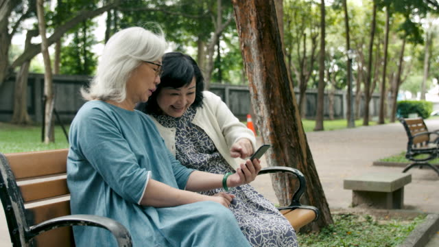 two senior ladies using a smartphone - bench stock videos & royalty-free footage