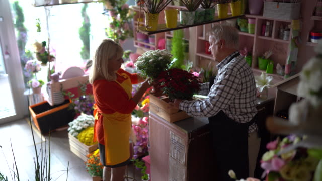 two seniors working at flower shop - working seniors stock videos & royalty-free footage