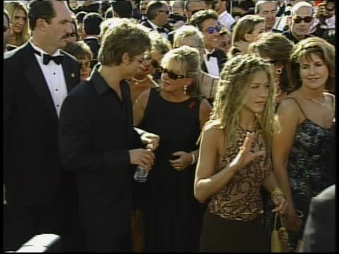 two shot pitt and aniston outside on red-carpet - 1999 stock videos & royalty-free footage