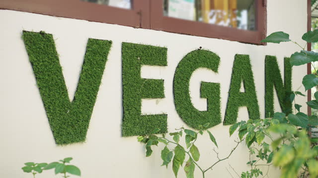"""two shots of green organic """"vegan"""" sign on wall - sign stock videos & royalty-free footage"""