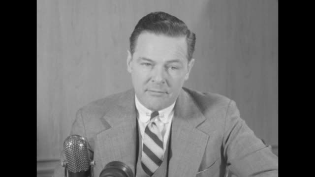 Two shots of MA Senator Henry Cabot Lodge Jr sitting at desk talking to camera SOT he says Dwight D Eisenhower can win in November / Note audio not...