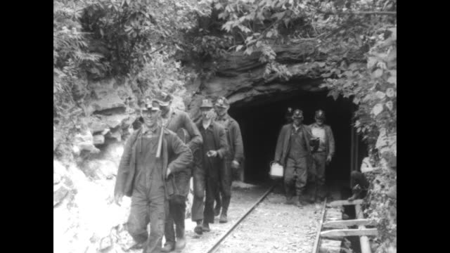 vidéos et rushes de two shots of miners walking out of entrance to mine some carry lunch pails all wear head lamps / pan across group of miners standing at entrance to... - mineur de charbon