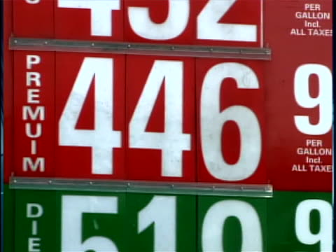 stockvideo's en b-roll-footage met two shots of signs outside of gasoline stations that display the price of gas - benzineprijzen