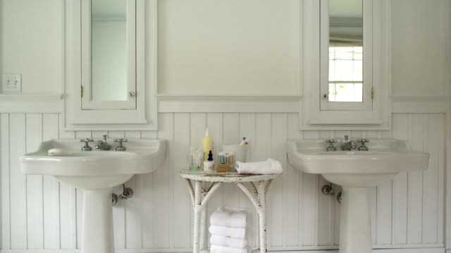 ms two sinks in bathroom, scarborough, new york, usa - bathroom stock videos & royalty-free footage