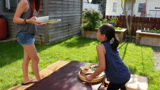 ms ts two sisters setting outdoor table for dinner in backyard of home on summer evening - tray stock videos and b-roll footage