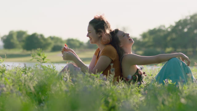 ws slo mo. two sisters sit back to back laughing in field of flowers. - wiese stock-videos und b-roll-filmmaterial