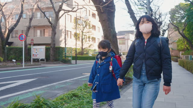 two sisters wearing protective face mask and walking to school together - sister stock videos & royalty-free footage