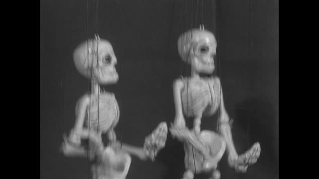 two skeleton puppets ; 1956 - spooky stock videos & royalty-free footage