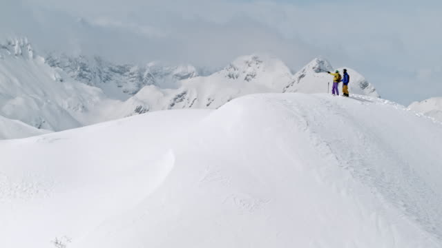 Two skiers checking the surroundings from a sunny mountain top