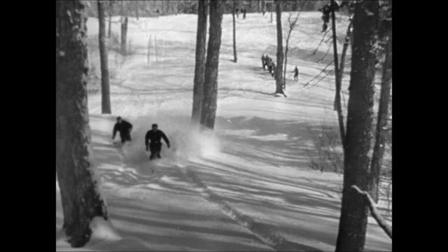 two skiers moving down hill in powder snow ws ski slope couple dressed in warm clothing talking on slope pair of snow skiers moving down bumpy... - ski clothing stock videos and b-roll footage