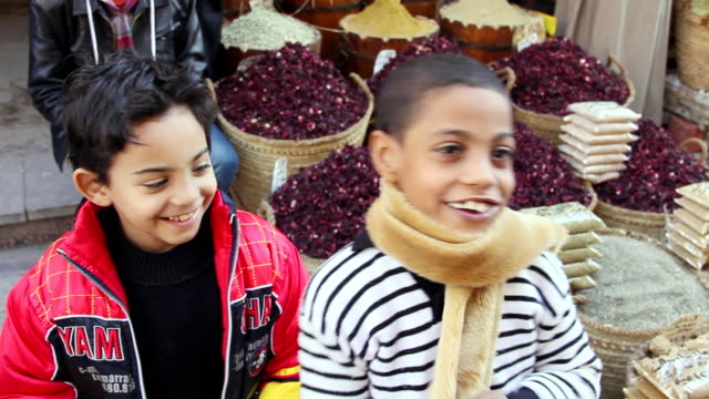MS Two smiling Egyptian boys in front of several baskets of Hibiscus flowers / Aswan, Egypt