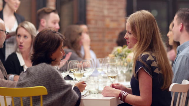 MS Two smiling women in discussion during dinner party