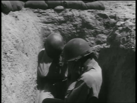two soldiers in trench holding ears during atomic testing / nevada / documentary - 1955 stock videos & royalty-free footage