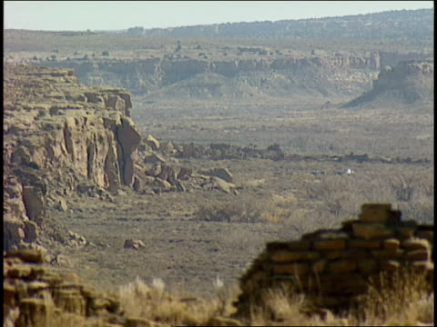 two stone pillars remain among the ruins of penasco blanco in chaco canyon. - chaco canyon stock videos & royalty-free footage