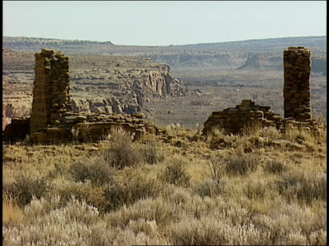 two stone pillars remain as part of the ruins of penasco blanco in chaco canyon. - chaco canyon stock videos & royalty-free footage