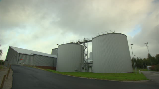 ws two storage tanks at sewage water treatment plant / vaxjo, sweden - vaxjo stock videos & royalty-free footage