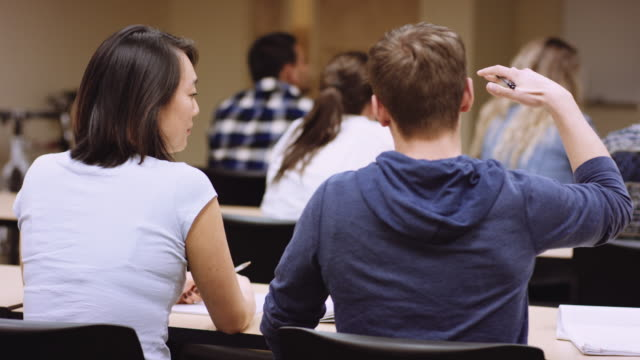 two students chatting at table in a classroom - lecture hall stock videos and b-roll footage