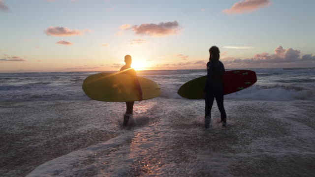 two surfers with surfboards looking out over waves and toward horizon - surfboard stock videos and b-roll footage