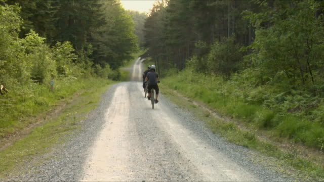 ws two teenage boys cycling and doing wheelies on gravel road in bedgebury forest / kent, england, uk  - see other clips from this shoot 1036 stock videos and b-roll footage