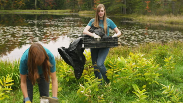 ms shaky two teenage girls cleaning lake shore from garbage, dorset, vermont, usa - pulizia dell'ambiente video stock e b–roll