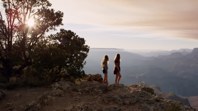 vídeos de stock, filmes e b-roll de two teenage girls looking at the grand canyon from the south rim - na beira