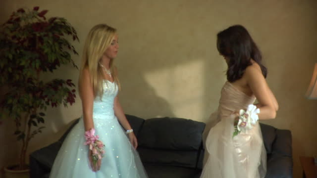 ms, two teenage girls (16-17) wearing prom dresses in living room, edison, new jersey, usa - 談笑する点の映像素材/bロール