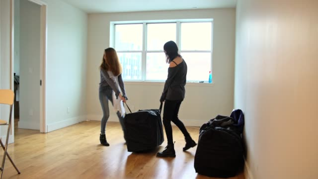 vídeos de stock e filmes b-roll de two teenager girls, sisters, moving packages in the living room of the new empty house - independência