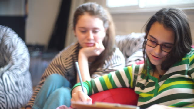 two teenager girls, sisters, writs something in the notepad - asking stock videos & royalty-free footage