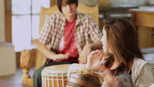 ms tu two teenagers playing drums together / lamy, new mexico, united states - lamy new mexico stock videos and b-roll footage