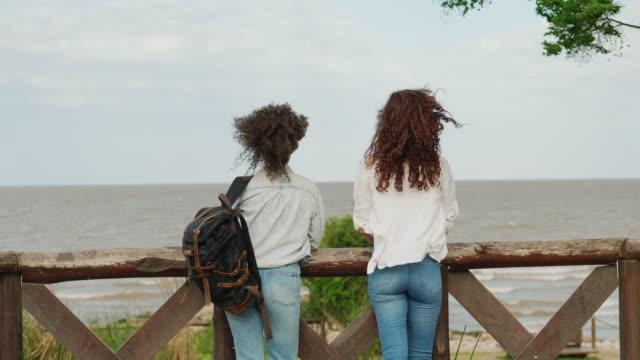 zwei reisende freundinnen schauen auf den meerblick - buenos aires stock-videos und b-roll-filmmaterial