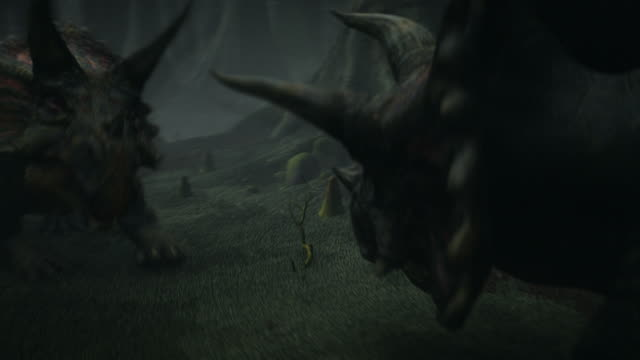 two triceratops fight in a prehistoric forest in a computer generated animation. - triceratops stock videos and b-roll footage