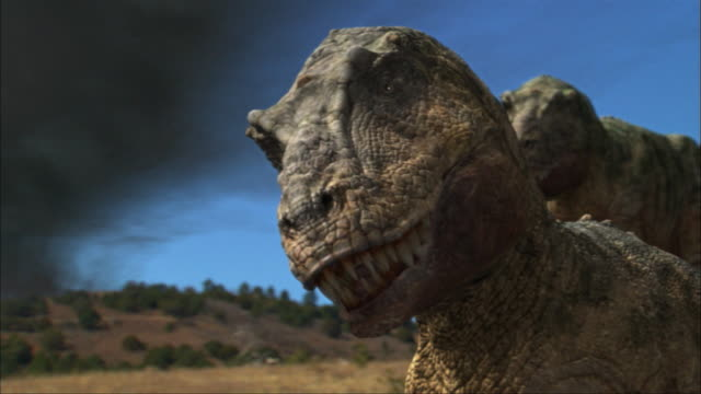 CGI, CU, Two Tyrannosaurus rexes on field, headshot