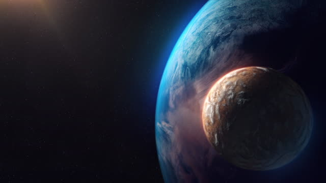 vídeos de stock e filmes b-roll de two unknown planets beyond our solar system - dois objetos