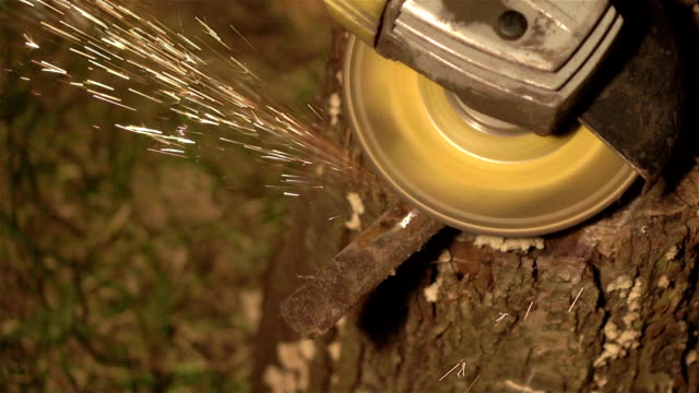 Two videos of grinder sparks in real slow motion