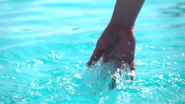 Two videos of hand splashing the water -real slow motion
