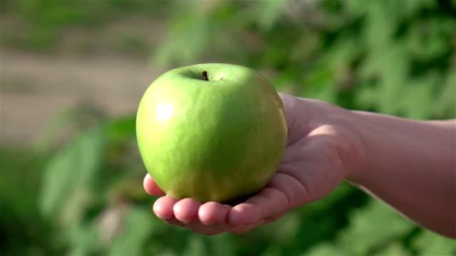 Zwei videos von Hand hält Apfel in Echtzeit Zeitlupe